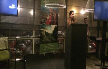 Smt. Radhika L. Lokesh, Ambassador speaking at a Tourism Promotion Event organised by India Tourism on 21 January 2015