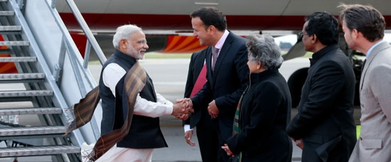 Honourable PM being received by Health Minister of Ireland, Mr Leo Varadkar on arrival in Ireland in 2015