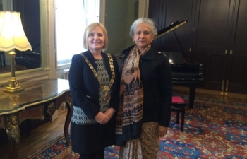 H.E. Mrs. Radhika Lal Lokesh, Ambassador with Lord Mayor of Dublin, H.E. Cr�ona N� Dh�laigh at the Mansion House