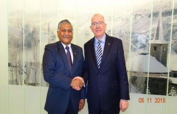 H.E. Mr. V. K. Singh, Minister of State for External Affairs meets H.E. Mr. Charlie Flanagan, Minister for Foreign Affairs and Trade, Ireland on the sidelines of the 12th ASEM Foreign Ministers� Meeting from 4-6 November 2015 at Luxembourg.
