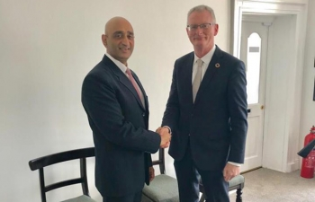 Good meeting with Chief Executive of Chambers Ireland, Ian Talbot.  Strategized on enhancement of business and investment ties between India  and Ireland, including advantages to be leveraged from Irish  geostrategic positioning, post-Brexit.