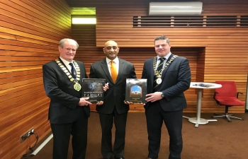 DONEGAL Another beautiful county, bordering N. Ireland, with lots of potential of collaboration with India. V. constructive meeting with charismatic Mayor of Donegal, Seamus ODomhnaill, fit-as-fiddle Mayor of Letterkenny, Ian McGarvey (86 yrs), City Councilors, CEO of Chamber of Commerce Toni Forrester amp Pres Leonard Watson, Pres of LIT, Paul Hannigan as well as Manager of Failte Ireland, Joan Crawford. Privileged to interact with v. dynamic Ind. community amp students (around 1000), making significant contribution to socio-economic-cultural ethos of region. Special salutations to woman Pres of Indian Association, Sharmila Kamat amp all other women, who provide sustenance to our societies.