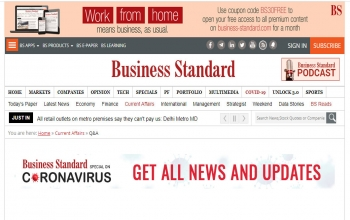Ambassador's interview with online edition of Business Standard on India-Ireland relations in context of COVID-19- 2020