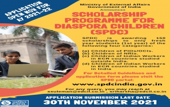 Ministry of External Affairs, Government of India has announced SPDC (Scholarship Programme for Diaspora Children) applications for Academic Year 2021-22